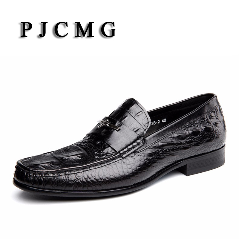 PJCMG Fashion Black Red Men Dress Shoes High Quality Breathable Lace Up Slip On Crocodile Pattern