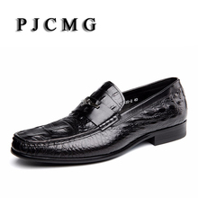 PJCMG Fashion Black/Red Men Dress Shoes High Quality Breathable Lace-Up/Slip-On Crocodile Pattern Genuine Leather Oxford Shoes