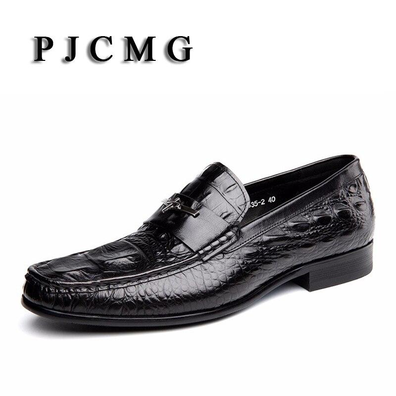 Pjcmg 패션 블랙/레드 남자 드레스 신발 고품질 통기성 레이스 업/슬립 온 악어 패턴 정품 가죽 옥스포드 신발-에서포멀 슈즈부터 신발 의  그룹 1