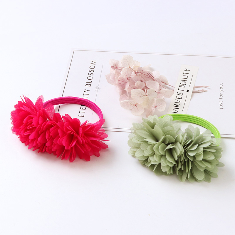 1PC New Cute Girls Cloth Flower Red Pink Green Hair Ropes Hair Tie Holder Elastic Hair Bands Children Headband Hair Accessories 2017 new arrival fashion flower hair ropes for women luxury brand pearl tassel ladies elastic hair band hair accessories ns050