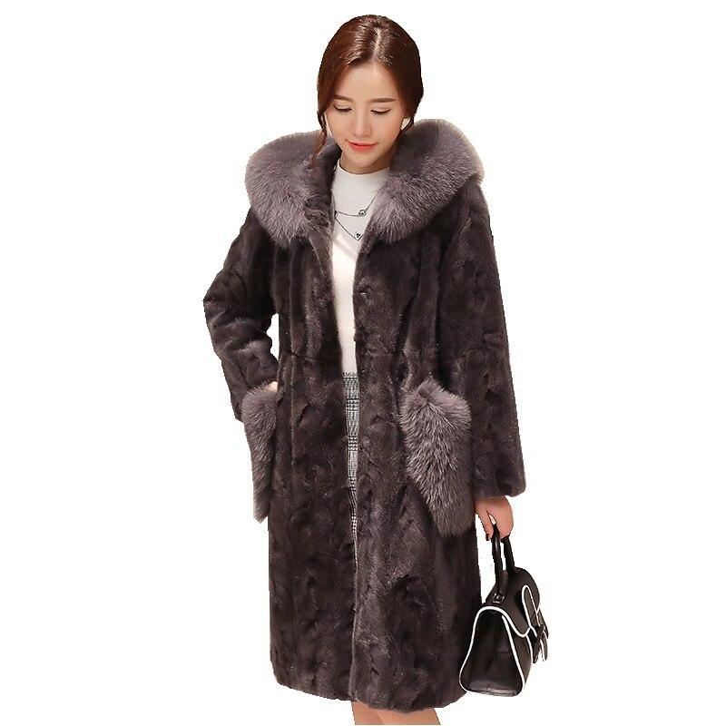 Luxo Real Pedaço de Vison Casaco De Pele Casaco de Pele De Raposa Com Capuz outono Inverno As Mulheres De Pele Quente Casacos Casacos Vestuário 3XL 4XL LF4224