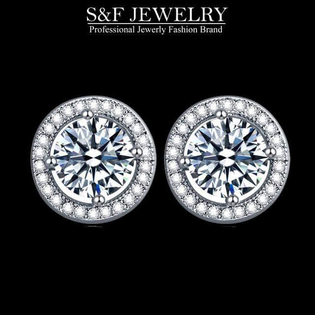 crystal from Swarovski Fashion stud Earrings for women champagne round stud earrings summer  trendy jewelry stud earrings 16440