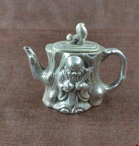 Image 1 - الصين جمع هجر الفاظ الأبيض النحاس إله طول العمر إبريق الشاي الحرف تمثال