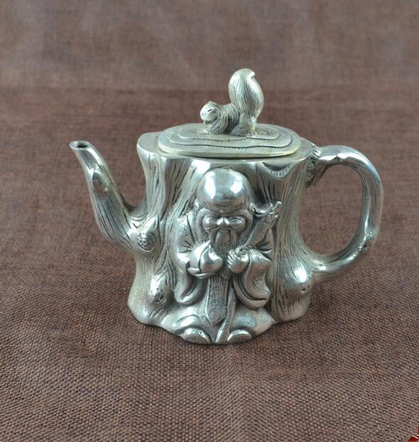 الصين جمع هجر الفاظ الأبيض النحاس إله طول العمر إبريق الشاي الحرف تمثال