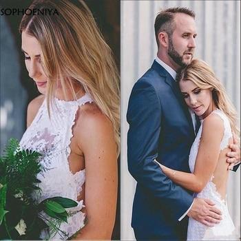 New Arrival Robe de Mariee Romantic Lace Halter Beach Wedding Dress Backless Abito da sposa Trouwjurk 2020 Wedding gowns