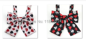 Japanese students JK uniforms bow tie collar | Embroidered collar flower K poker card pattern