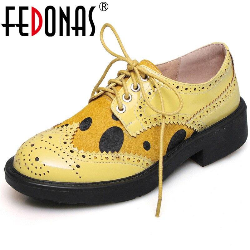 Ayakk.'ten Kadın Pompaları'de FEDONAS Moda Kadınlar Hakiki Deri Yüksek Kaliteli Pompalar Yuvarlak Ayak Lace Up Bahar Sonbahar Brogue Ayakkabı Kadın Temel Pompalar'da  Grup 1