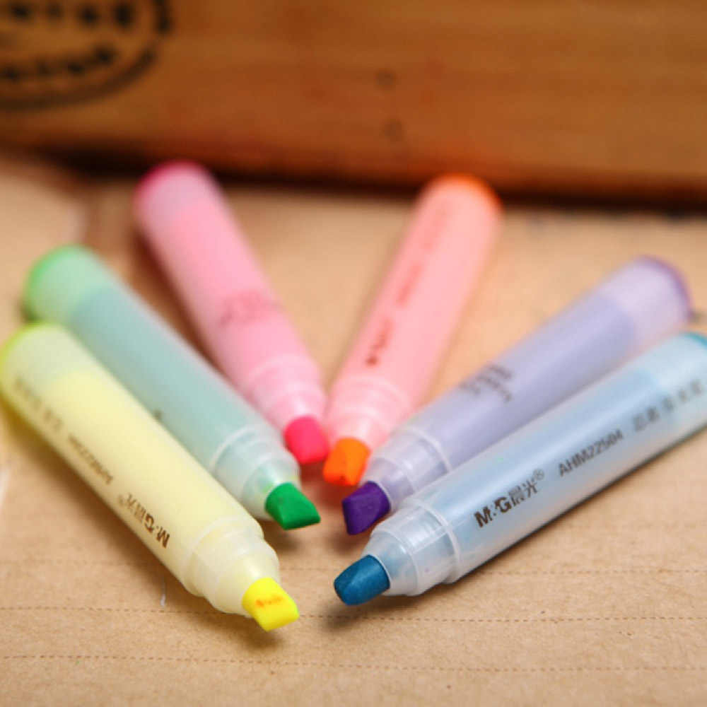 6 قطعة لطيف Kawaii البسيطة النينجا الفلورسنت هيغليغتر الكرتون الحيوان أرنب الطباشير أقلام خطاط (ماركر) اللوازم المدرسية الجملة هدية القلم