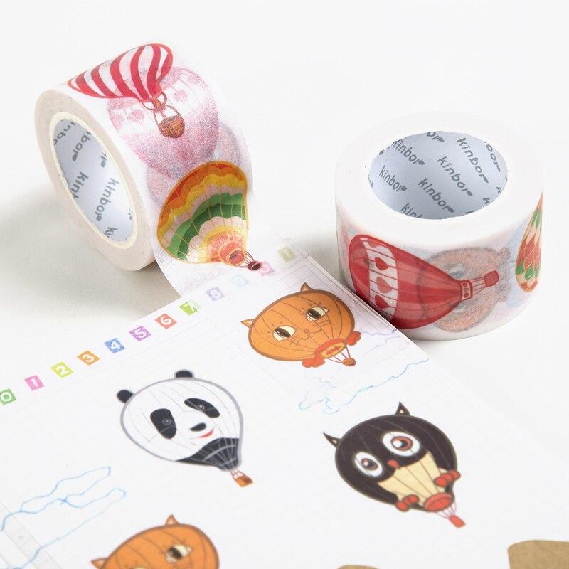 Kawaii Stickers Kinbor Deco Japanese Washi Tape Cute DIY Deco Adhesive Tape Romantic Design Writable Masking Tape Label Sticker