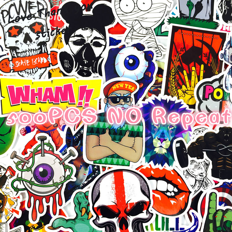 500 PCS Mixed Style Stickers Home Decor Luggage Car Styling Laptop DIY Sticker Fridge Skateboard Toys Cool JDM Doodle Decals totoro fridge stickers fridge magnite magnetic stickers car style home decor cell decor cartoon animal action figure toys