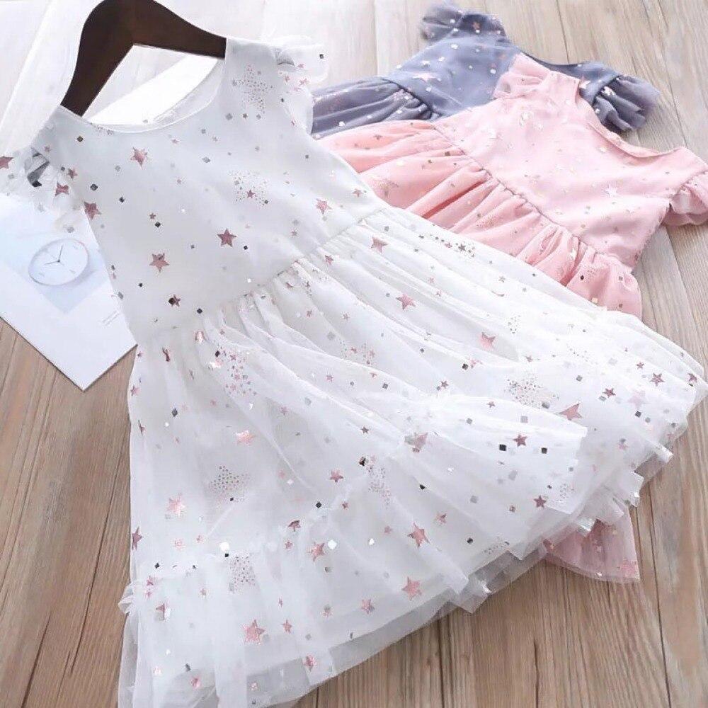 Roimyal Wholesale 2019 summer Lovely Dress Girl sequines Star Dress toddler kids cute dresses 2 6years