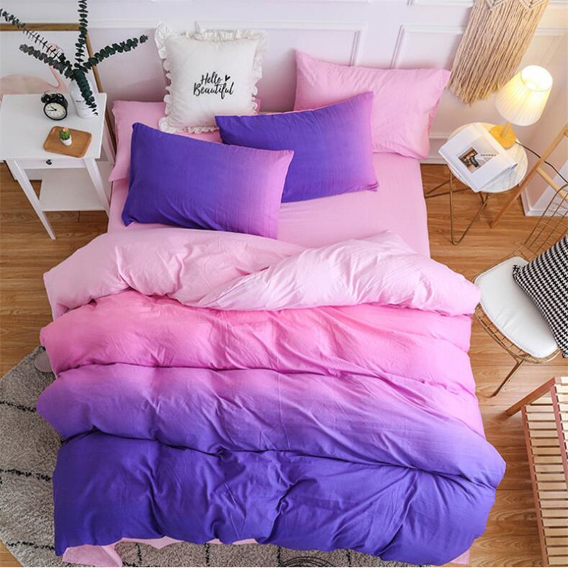 Bedding Set Queen Size Purple Pink Blue Colorfully  Quilt Cover Pillowcase Hot Sale Single Double 3-piece Soft XHS0099