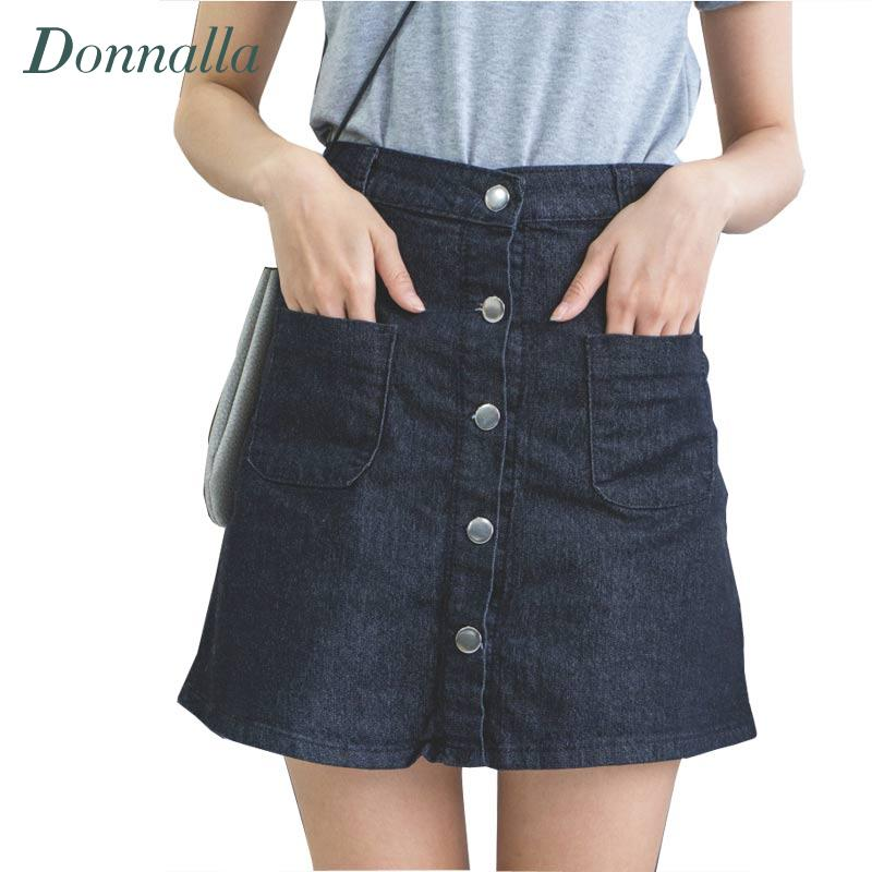 Aliexpress.com : Buy A line High Waist Denim Skirt Women Front ...