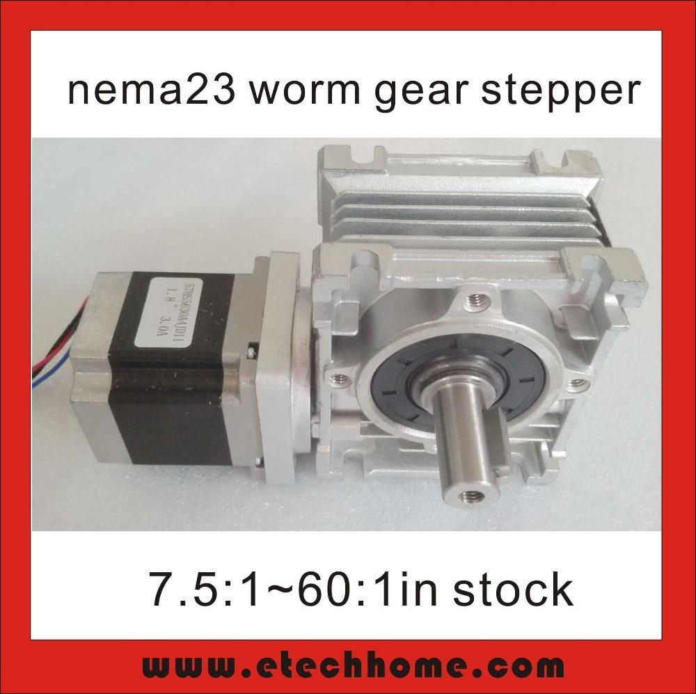 ФОТО NEMA 23 Worm Gearbox Stepper Motor RV30 Worm Reducer with 56mm NEMA23 Stepper Motor CE ROHS Nema23 Worm Reducer Stepper Motor