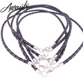 Awaytr 10Pcs/Lot 4mm Black Braided Leather Necklace Cords Fit Europe Bead Jewelry Accessories 14-30 inches Wholesale
