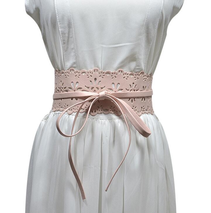 Women's Runway Fashion Hollow Out Faux Leather Cummerbunds Female Dress Corsets Waistband Belts Decoration Bow Belt R1127