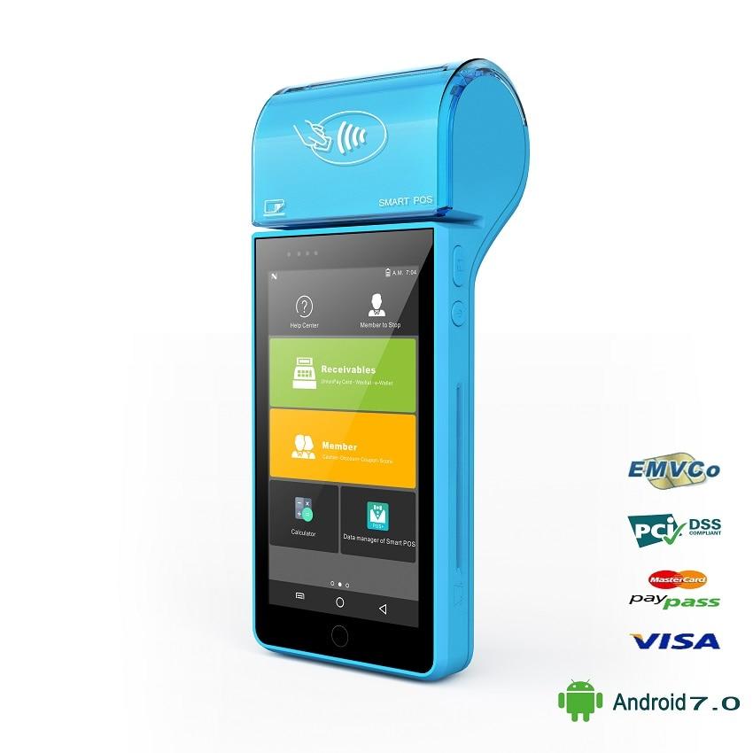 De poche Paiement POS Terminal avec IC Magnétique Lecteur de Carte NFC Code À Barres Scanner Android 7.0