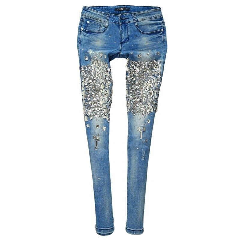 Femme diamant perlé Jeans mode Slim Skinny Denim pantalon noir bleu