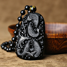 Natural Black Obsidian 3D Carved Chain Happy Four Fish Pendant Lucky Amulet Necklace Pendants For Women Men Fashion Jewelry natural afghanistan white yu stone pendant with beads necklace carved maitreya laughing buddha women s amulet jewelry pendants