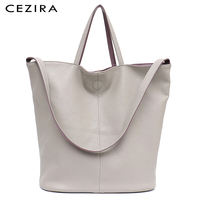CEZIRA Vegan Leather Casual Fashion Tote Handbags for Girls Two Color Reversible Soft Large Women Shoulder Bag Bucket Handy Bags
