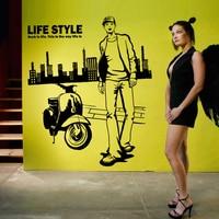 男服ショップ ビニール デ カール店窓壁画アート ステッカー ファッション男の子オートバイ カスタム ウォール ステッカー取り外し可能の装飾