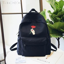 купить STANCHIONA Canvas Backpack for Women Holding Roses Embroidery Backpacks for Teenagers Travel School Bags по цене 1966.31 рублей