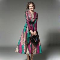 2017 Spring Women Dress Fashion Brand Long Dresses High Quality Europe Fashion Print Dresses Women S