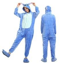 d1ef66b90c90 New Winter Women Men Unisex Adult Cute Cartoon Onesie Animal Pajamas Stitch  unicornio Unicorn Kigurumi Flannel