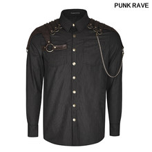Autumn Gothic Vintage Long Sleeves Casual Harajuku Shirt Steampunk Gentle Men Coffee Vertical Striped Shirts PUNK RAVE Y-819(China)