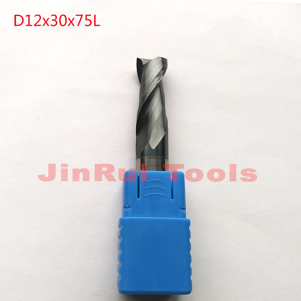 1pc  D12*30*75 HRC45  2 Flutes Flat Square  Solide Carbide End Mills CNC router bit milling cutter knfie fresa 1pc d3 8 50 hrc60 2 flutes flat square solide carbide end mills cnc router bit milling cutter knife