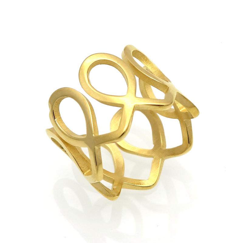BORASI Women Rings Stainless Steel Unique Wide Band Statement Cocktail Mid Finger Ring Gold Color Fashion Jewelry 2017 Anel