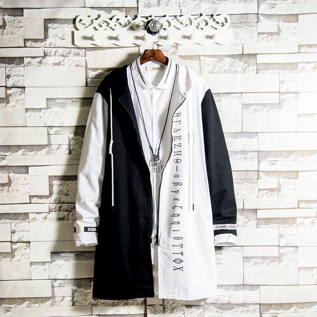 Spring Mens Trench Coat Hooded Windbreaker Boys Overcoat Outwear Black White Mixed Color Spliced Loose Male