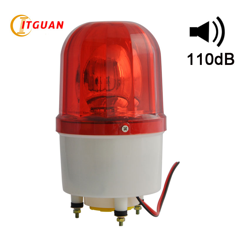 LTE-1101K Bulbs rotating warning light with buzzer Sound 110dB red Alarm Emergency bolt bottom Strobe Light ltd 5071 dc12v warning light emergency strobe light warning light