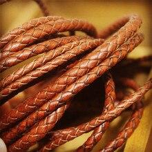 2 м/лот 3 мм 4 мм 5 мм круглый плетеный шнур из натуральной кожи кофе коровья кожа шнур веревочный браслет фурнитура DIY ювелирные изделия