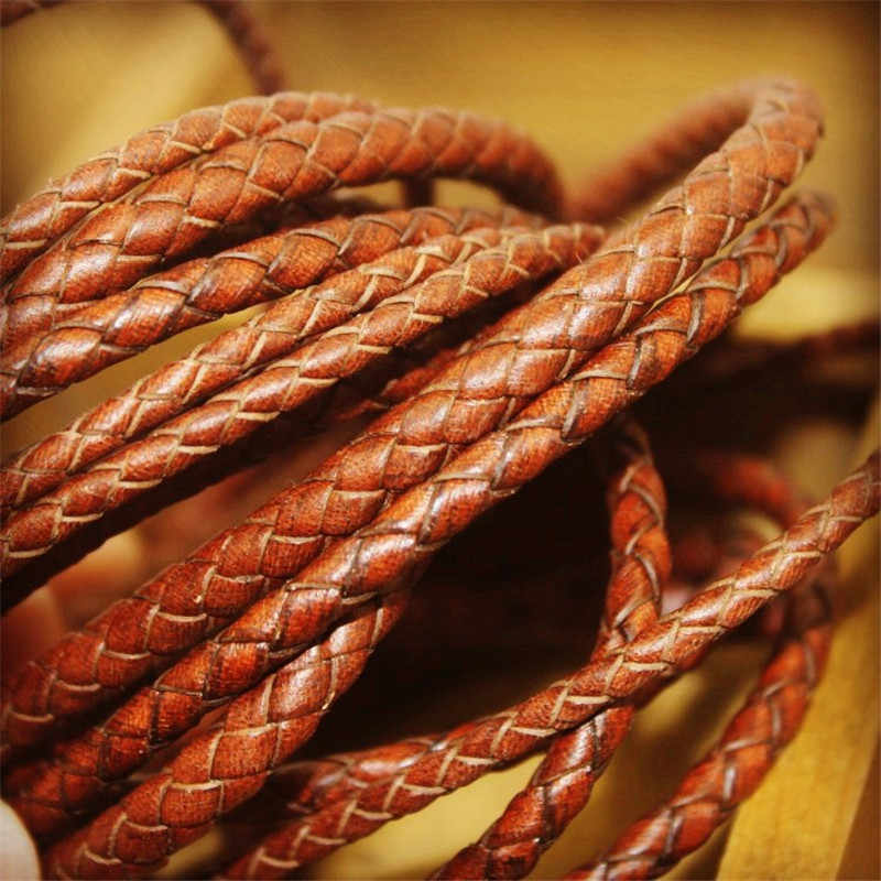 2m/lot 3mm 4mm 5mm Round Braided Genuine Leather Cord Coffee Cow Leather Cords String Rope Bracelet Findings DIY Jewelry