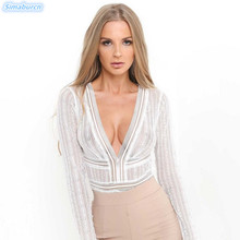 2019 Summer Sexy Women Long Sleeve Black Lace Hollow Out Bodysuit V-Neck Backless Skinny Jumpsuit Romper Overalls Club Playsuit цена
