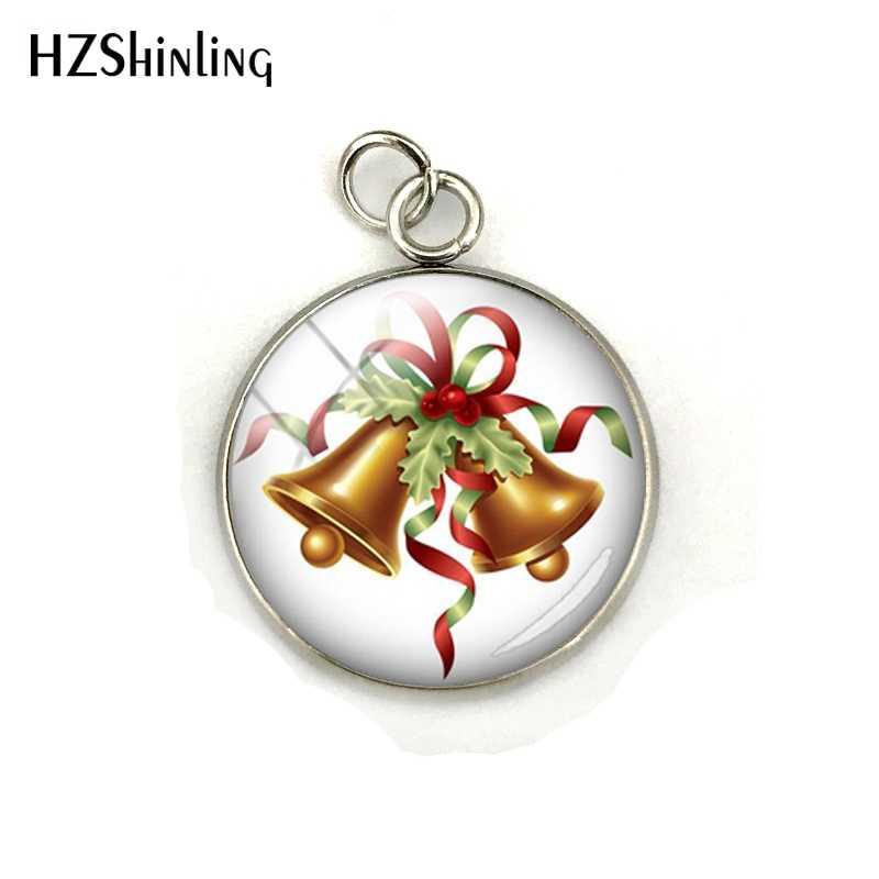Moda Feliz Navidad árbol campana fotos vidrio cabujón encanto colgante mano artesanía Acero inoxidable joyería regalo para niños