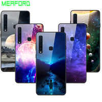 For Samsung Galaxy A9 2018 Case Tempered Glass Planet Space Cover Glass Back Case for Samsung A9 2018 A920F A920 A9S Coque Shell