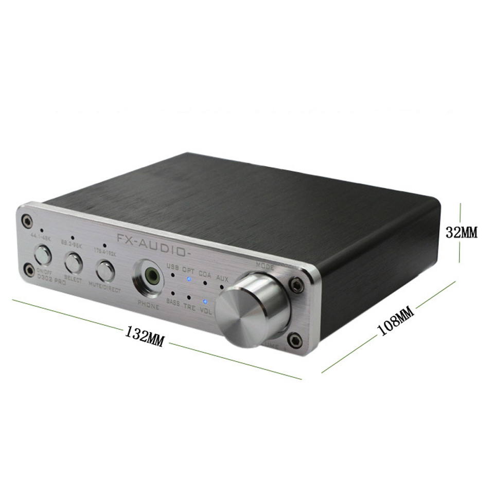 FX Audio D302PRO Latest DSP Digital Amplifier Integrated Power Amp USB/OPT/COAX/AUX Input With Headphone Free Shipping