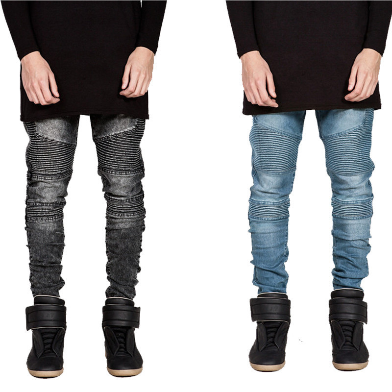 2016 Hi-Street Mens Biker Jeans Motorcycle Slim Fit Washed Black Grey Blue Moto Denim Pants Joggers For Skinny Men 5pcs steel ratchet spanner combination wrench keys skate tool gear ring wrench ratchet set 10 12 13 17 19mm ali88