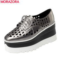 MORAZORA Genuine Leather Women Pumps Wedges Shoes High Heels 7 5cm Lace Up Platform Shoes Square