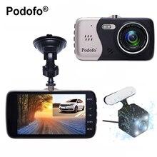 """Podofo 4 """"Lente Dual Del Coche DVR Dashcam NTK96658 Novatek Dash Cámara Grabadora de HD 1080 P Registrator Con Retrovisor de Copia de seguridad cámara Dvr"""