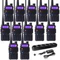 10 unid comunicador de radio de dos vías baofeng uv-5r de banda dual uhf de frecuencia vhf portátil walkie talkie auricular de radio de mano + cargador