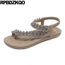 Bridal Women Sandals Flat Summer 2019 Nice Rhinestone Shoes Toe Ring Large Size Soft Diamond Bling Wide Fit Ankle Strap Crystal(China)