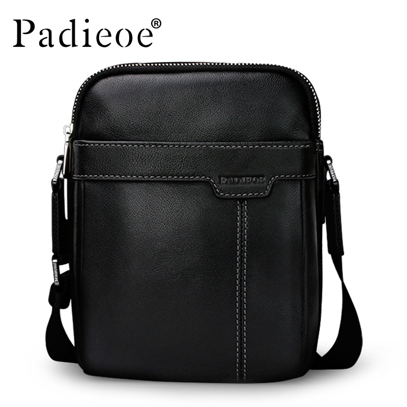 Padieoe Cow Leather Men Shoulder Bag New Fashion Casual Messenger Bags Famous Brand Genuine Crossbody Bags For Male Free Ship new style messenger bag men leather top grade all match hasp fashion retro cow leather men bag solid color small shoulder bags