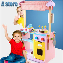 A store Wooden House Home Simulation Real Life Bakery Baking Cake Canteen Puzzle Cut See Toy Set Pretend Play Toys for Children poe a life cut short
