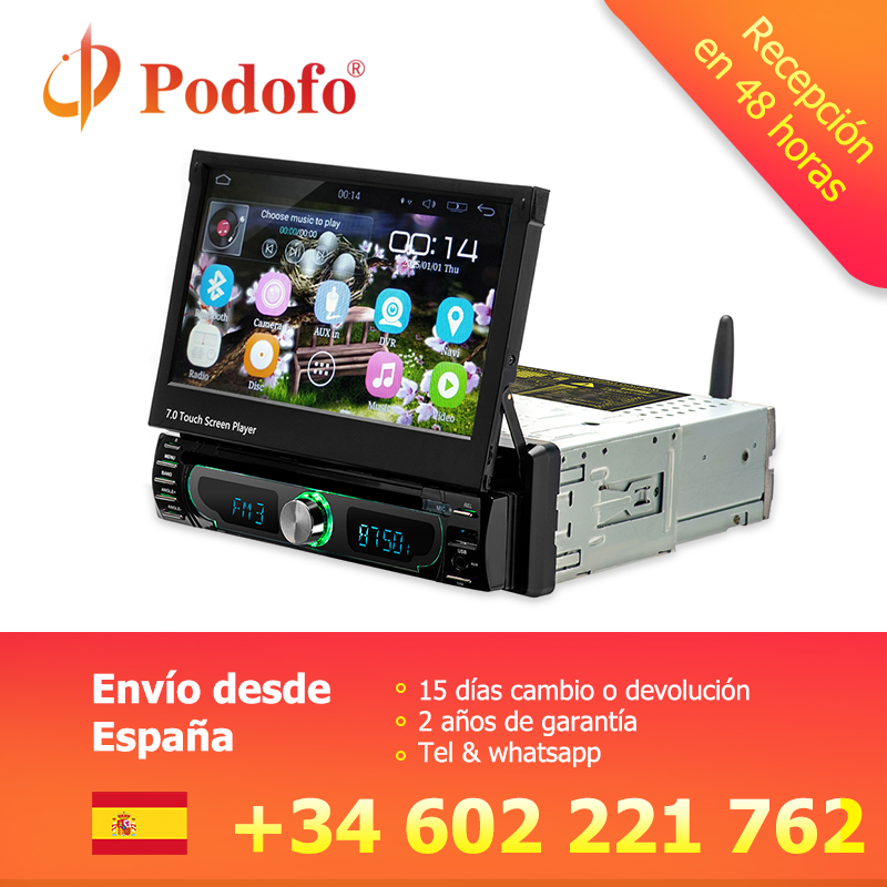 Podofo Android navigation gps CD/DVD lecteur multimédia MP5 Autoadio 1 Din 7 Rétractable écran tactile autoradio Bluetooth Stéréo