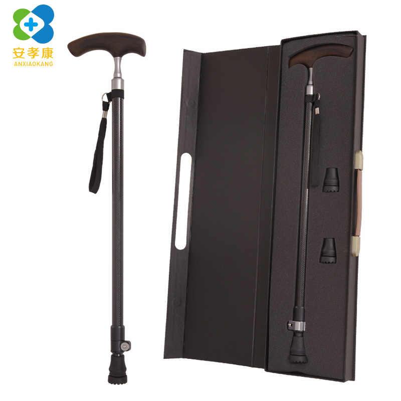5909f9e9be72 High Grade Elderly Cane Carbon Fiber Solid Wood Crutches Super Hard ...