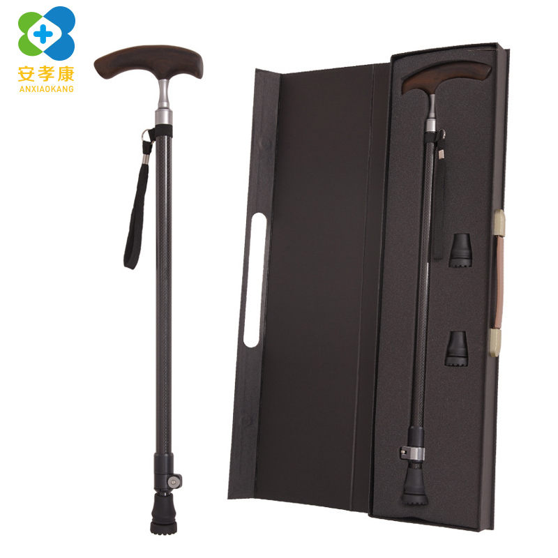 High Grade Elderly Cane Carbon Fiber Solid Wood Crutches Super Hard Light Retractable Anti Skid Walking Stick Stic With Gift Box-in Walking Sticks from Sports & Entertainment    1
