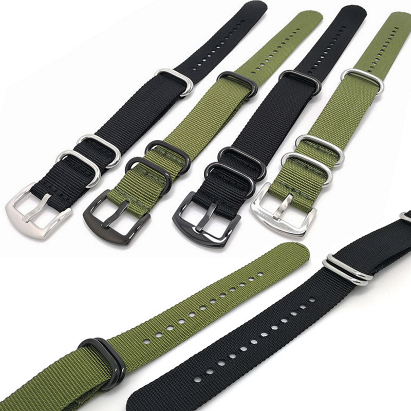 NATO Strap High Quality Nylon Watch Bands Nato belts With Stainless Steel Black Buckles 20mm 22mm Handmade Canvas Watchbands